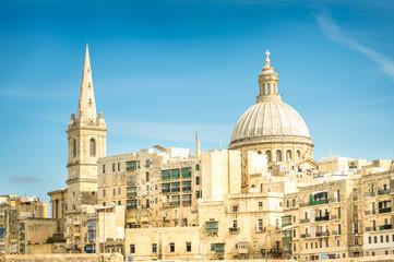 Detail postcard of old town La Valletta - Capital of Malta