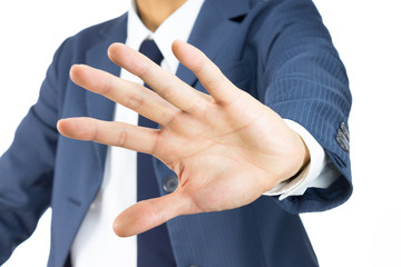Businessman Stop Sign Hand Gesture on Tilt View Isolated on Whit