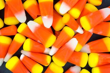 Halloween candy corn on a dark background