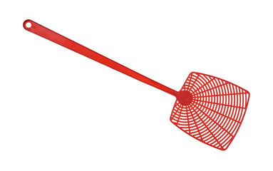 Red fly swatter isolated on a white background