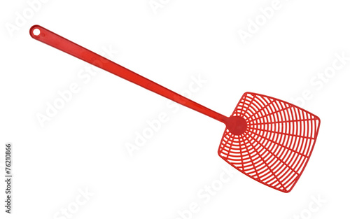Leinwanddruck Bild Red fly swatter isolated on a white background