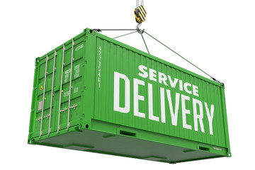Service Delivery - Green Hanging Cargo Container.
