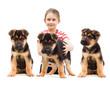 child with German Shepherd Dog