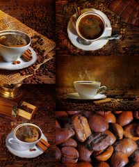 Coffee with cinnamon and chocolate, a collage
