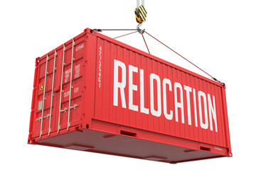 Relocation - Red Hanging Cargo Container.