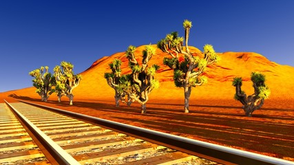 Joshua trees and railroad