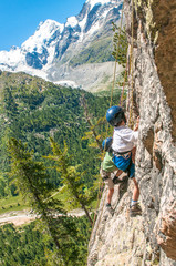 Children climbing in the high mountains