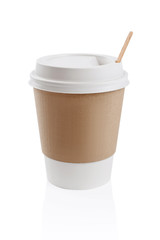 Paper cup isolated on white. Coffee to go.