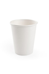 White empty paper cup isolated on white