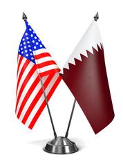 USA and Qatar - Miniature Flags.