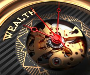 Wealth on Black-Golden Watch Face.