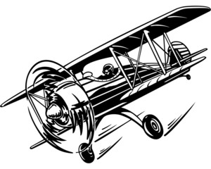 plane, retro biplane with a propeller in the air, flying in the