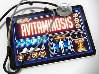 Avitaminosis on the Display of Medical Tablet.