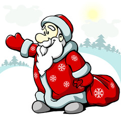 cheerful santa claus, frosty winter in the new year and Christma