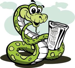 snake, cartoons, reptile keeps paper vektonaya illustration