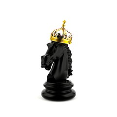 Back knight chess wears a crown