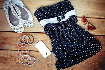 fashionable clothes, shoes and accessories