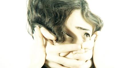 Vintage girl aggression hands distorted