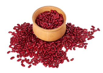 Red haricot in wooden bowl