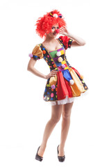 Clown girl on white background