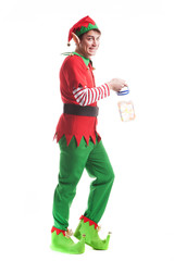 Chrismas Elf on white background