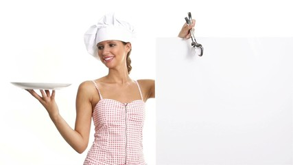 chef woman showing indicates billboard with cutlery dish