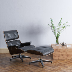 New office or living room interior with leather armchair