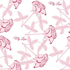 Seamless pattern with pink rose
