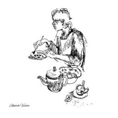 Woman at breakfast.Sketch drawing