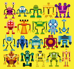 Set Of Different Cartoon Robots Isolated