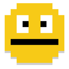 Cute Cartoon Pixel Yellow Face Isolated