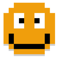 Cute Cartoon Pixel Happy Face Isolated