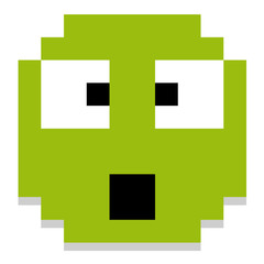 Cute Cartoon Pixel Surprised Face Isolated