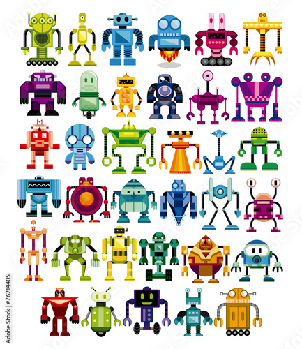 Set Of Different Cartoon Robots Isolated - 76214405