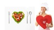 chef woman showing billboard heart shape diet concept