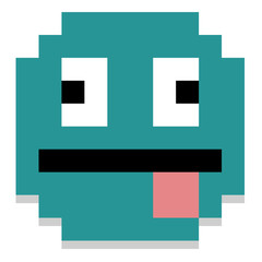 Pixel Cartoon Face With Tongue Out