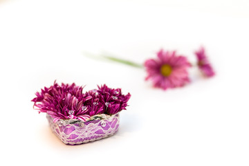 flowers arrangement with crystals isolated