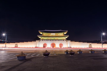 Geyongbokgung Palace at night in Seoul, South Korea.