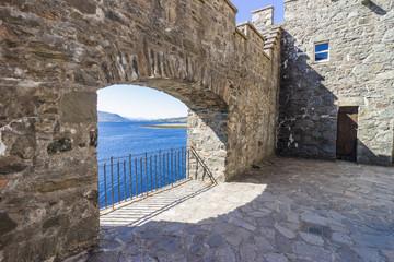 Ancient brick wall opening