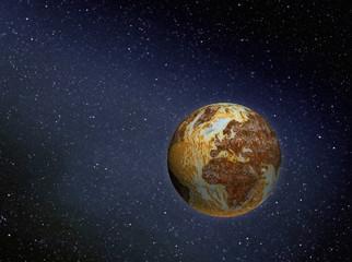 rusty earth in space