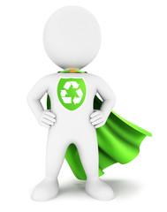3d white people ecological superhero
