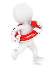 3d white people running lifeguard