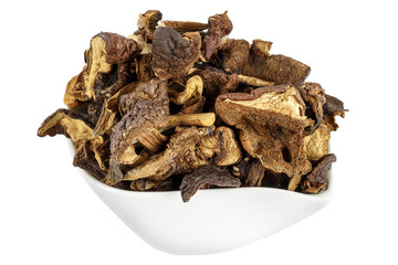 Wild and dried mushrooms placed in a dish