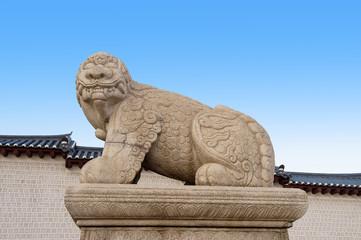 Statue of a mythological lion-like animal at Gyeongbokgung Palac