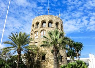 Alter Leuchtturm im Yachthafen  Puerto Banus, Marbella, Spanien