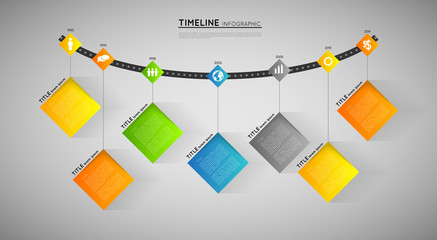 timeline infographic template with icons, flat design effect