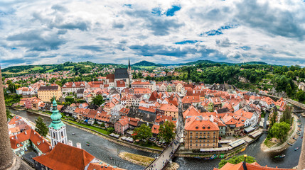 Panoramic aerial view over the old Town of Cesky Krumlov, Czech