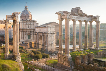 Roman Forum (Foro Romano) and Ruins of Septimius Severus Arch an