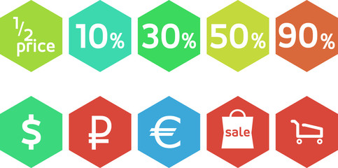Flat design vintage icons for sale, business and finance