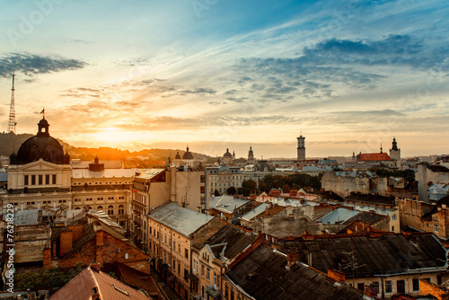Lviv city sunrise - 76218229